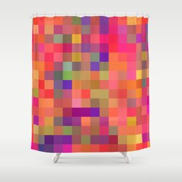 geometric square pixel pattern abstract in pink blue yellow Shower Curtain