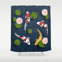 Japanese Koi Fish Pond Shower Curtain