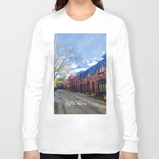 STOP For Brooklyn Heights Brownstone Red Brick Love Long Sleeve T-shirt