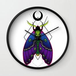 Neon Death Moth Wall Clock