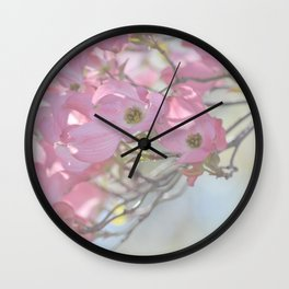 Subtle Pink Floral Wall Clock