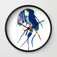jelly fish Wall Clocks featuring Jelly Fish by Ingrid Holborn