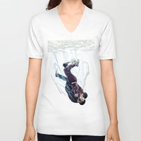 underwater V-neck T-shirts featuring Underwater by MGNemesi