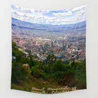 colombia Wall Tapestries featuring Mount Monserrate, with a 10,000 ft view of Bogota Colombia by ANoelleJay