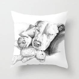 Let Sleeping Dogs Lie :: Grayscale Throw Pillow
