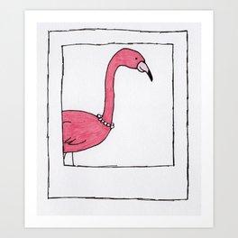 Polaroid Flamingo Print Art Print