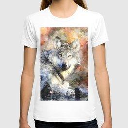 Wolf Animal Wild Nature-watercolor Illustration T-shirt