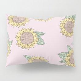 Sunflower autumn garden botanical blossom pattern pink girls Pillow Sham