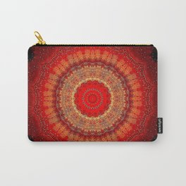 Vibrant Red Gold and black Mandala Carry-All Pouch