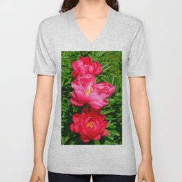 Bright Pink Peonies by Teresa Thompson Unisex V-Neck