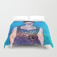 emma watson Duvet Covers featuring Emma Watson - Blue by André Joseph Martin