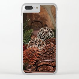 Holly And Pine Cones Clear iPhone Case