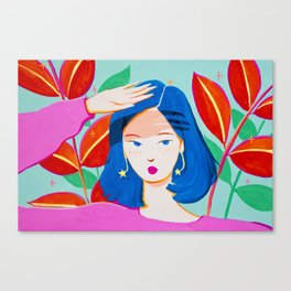 Girl and Plants on Bright Day Canvas Print