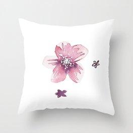 Lilac Pink Watercolour Fiordland Flower Throw Pillow
