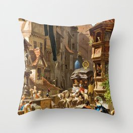 The Arrival Of The Stagecoach - Carl Spitzweg Throw Pillow