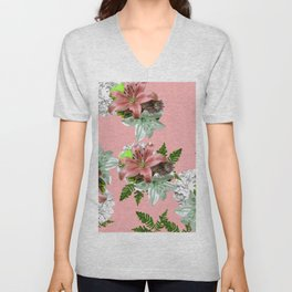 LILY PINK AND WHITE FLOWER Unisex V-Neck