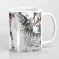 newspaper Mugs featuring Newspaper collage by Arken25