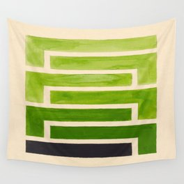 Sap Green Geometric Watercolor Painting Wall Tapestry