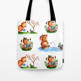 Cute watercolor pattern for kids about Teddy Bear and little Duck's friendship Tote Bag
