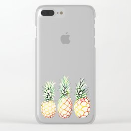 Burlap Pineapples Clear iPhone Case