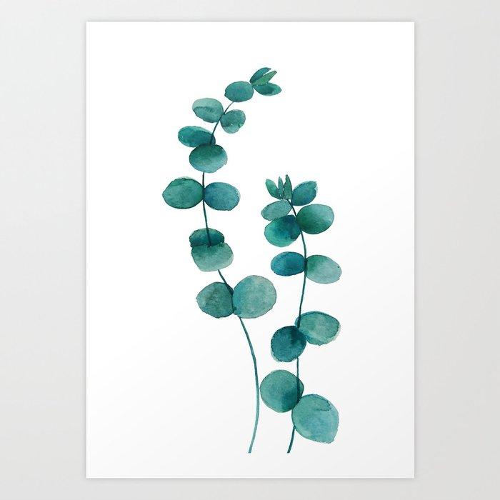 green eucalyptus watercolor Art Print