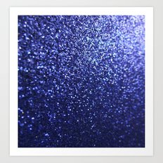 Royal Blue Glitter Sparkles Art Print