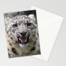 Angry snow leopard Stationery Cards