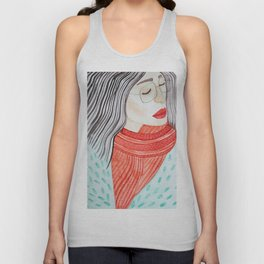 Beautiful lady with closed eyes in a red scarf wearing eyeglasses. Watercolor illustration. Unisex Tank Top