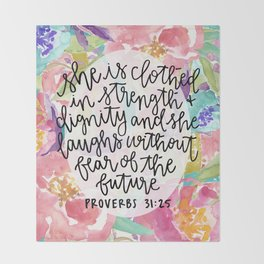Proverbs 31:25 Floral // Hand Lettering Throw Blanket