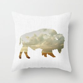 Bison and Plains Throw Pillow