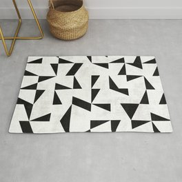 Mid-Century Modern Pattern No.11 - Black and White Rug