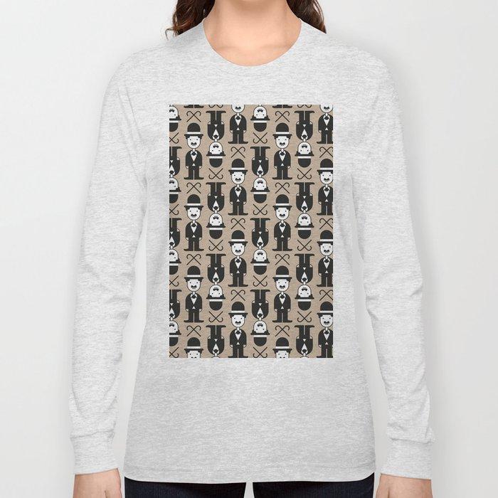 Charlie Chaplin Pattern Long Sleeve T-shirt