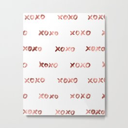 XOXO Fashion Love Rose Gold Pattern Metal Print