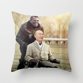 """Putin And Obama in """"Les Intouchables"""" Throw Pillow"""