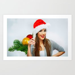 Holiday Christmas Santa Hat Green Eyes Smile Brune Art Print