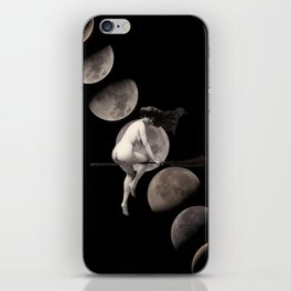 Moon Phases with Vintage Witch iPhone Skin