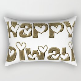 Happy Diwali Festival of Lights Typography Rectangular Pillow