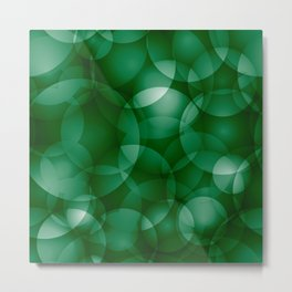 Dark intersecting green translucent circles in bright colors with a grassy glow. Metal Print