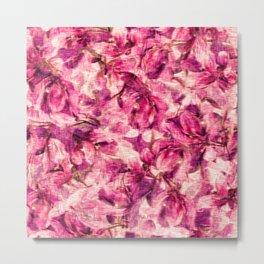 Rose flowers and petals vintage watercolor  floral pattern  Metal Print
