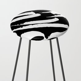 Black and White Brush Strokes Counter Stool