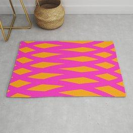 Wave Lines Geometric pattern orange pink Color Rug