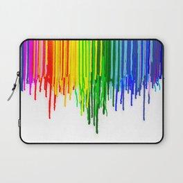Rainbow Paint Drops on White Laptop Sleeve