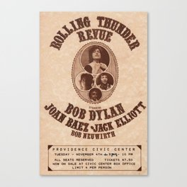 Very Rare Vintage 1975 Bob Dylan and Rolling Thunder Review Flyer - Poster Providence, Rhode Island Canvas Print