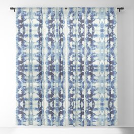 Tie Dye Blues Sheer Curtain