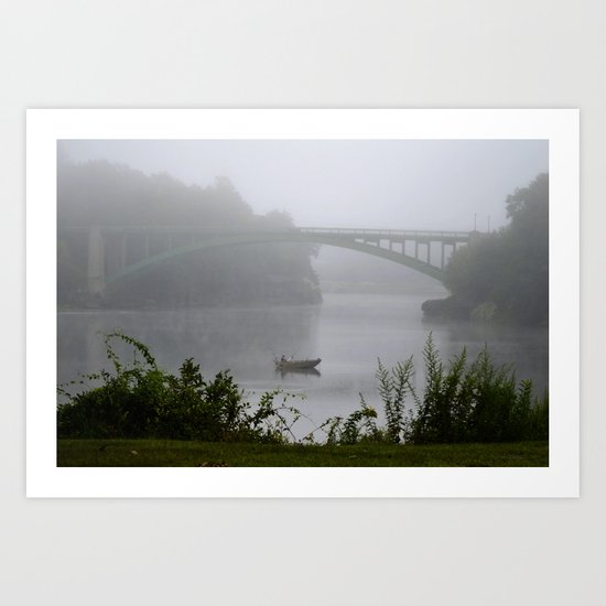 Foggy Fishing Day on the Delaware River by debracortesedesigns