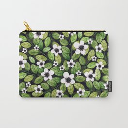 Watercolor Cherry Leaf and Flower Pattern Carry-All Pouch