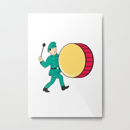 Marching Band Drummer Beating Drum Metal Print