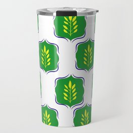 Indian traditional green good luck and prosperity motif pattern, contemporary indian motifs Travel Mug