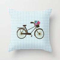 bike Throw Pillows featuring Bike by Juliana Zimmermann