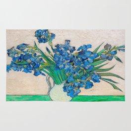 Irises by Vincent van Gogh Oil Painting Still Life Floral Arrangement In Vase Rug